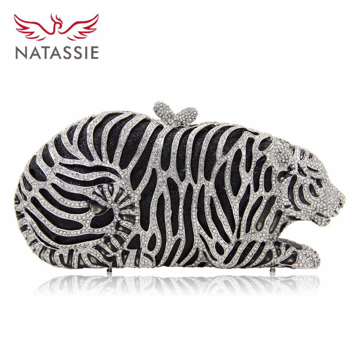 NATASSIE Women Luxury Crystal Evening  Clutch Bag Tiger Shape Clutch Purse Party Gold Bags luxury crystal clutch handbag women evening bag wedding party purses banquet