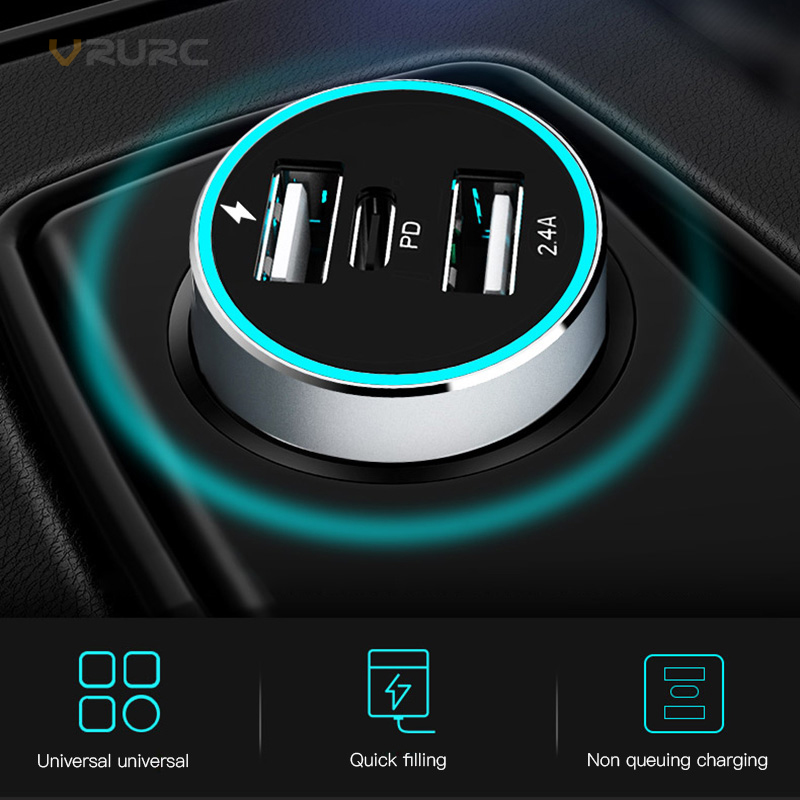 VRURC QC3.0 USB Type-c PD Car Charger For Samsung S9 Xiaomi Sony Dual USB Type C PD Quick Charge 48W QC 3.0 Charger For iPhone X