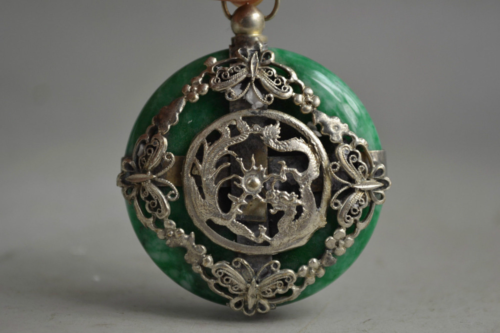 Old Green Jade Armored Beauty Butterfly & Auspicious Dragon Unique Pendant /statue free shipping