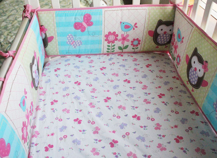5pcs Embroidery Baby Bedding Set Unpick And Wash Crib Bedding Set Bed Sheets Baby Bumpers,include (4bumper+bed cover)