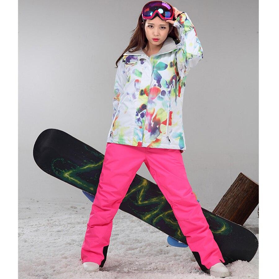 Prix pour Gsou Snow Coupe-Vent Respirant Ski Ensembles Femmes Étanche Ski Veste Pantalon Ensemble Snowboard Femme combinaison de Ski Sport Costumes