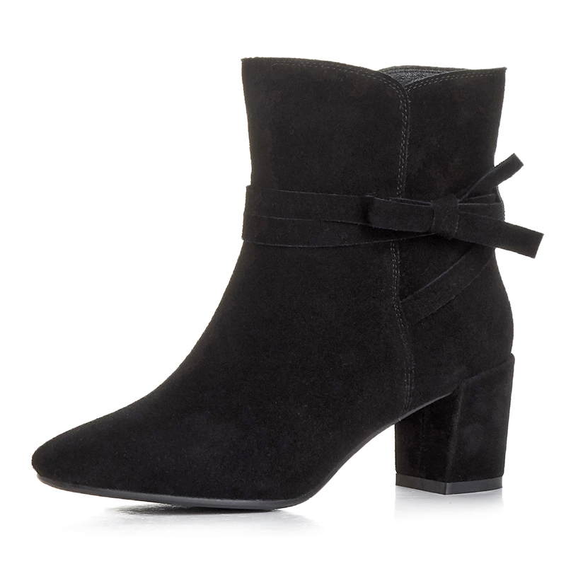 British style Genuine Leather women boots fashion Square heel high quality Cow Split leather Winter Ankle