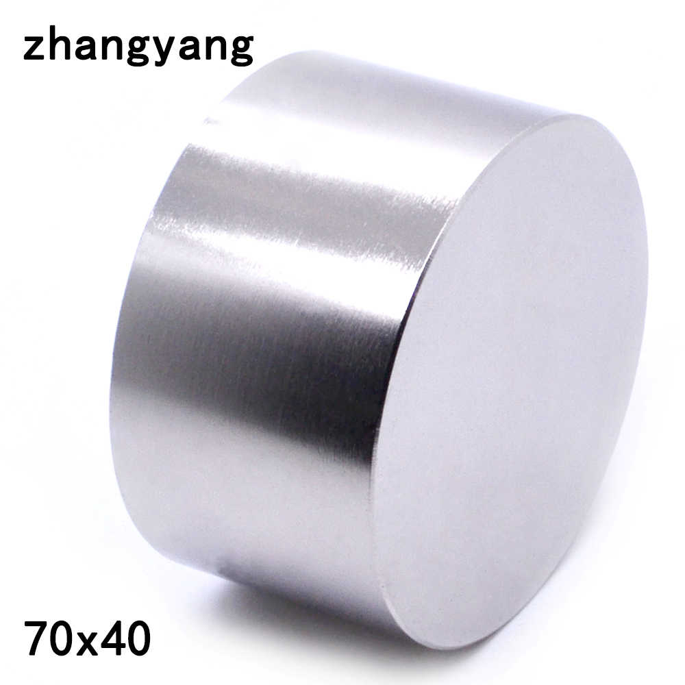 Imán de neodimio N52 de 70x40mm, metal de gallio, superfuerte, redondo, potente, permanente, 70x40mm, 1 Uds.