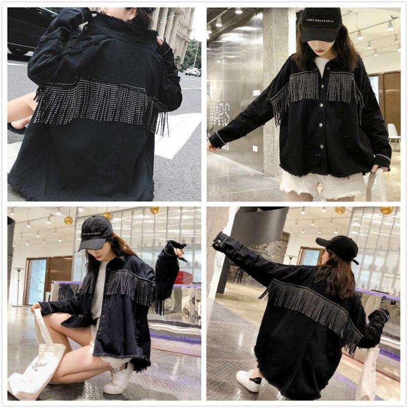 Image 4 - High Quality Spring Black Loose Denim Jacket Women Rivet Tassel Jean Jacket Coat Long Sleeve Streetwear Feminine Coat Outerwear-in Jackets from Women's Clothing