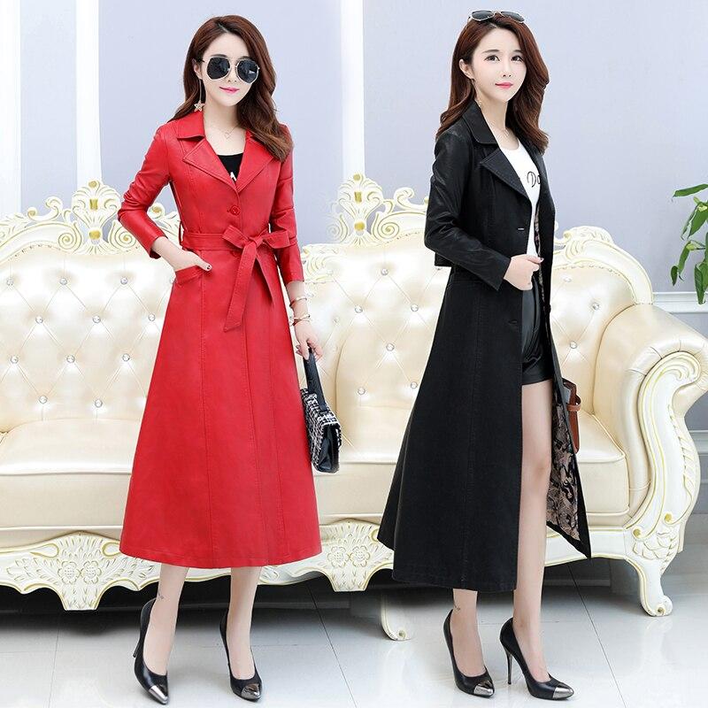 Femelle rouge Femmes Pu En Noir long La Taille D'hiver De Faux Smiao Manteau Vêtements Élégant Cuir M 4xl Plus Outwear Veste X 4xl 2018 xOgqww7va
