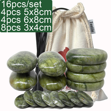 new 16pcs/set green jade body massage hot stone SPA with canvas CE and ROHS 4pcs(5x8)+4pcs(6x8)+8