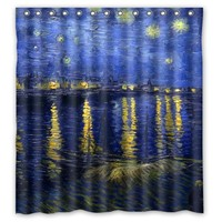 New Arrival 2015 Seconds Kill Van Gogh Waterproof Water Cube Shower Curtian Bath Curtain 66 X