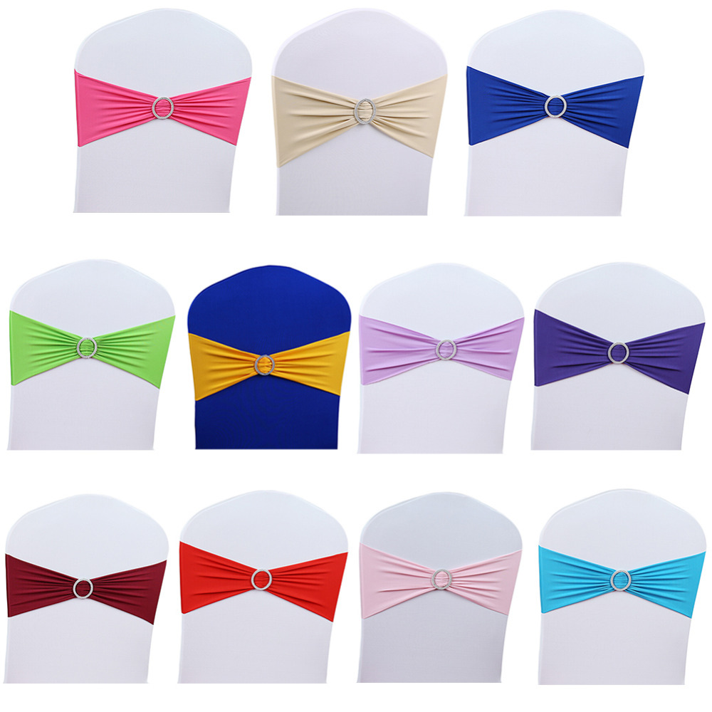 Spandex Stretch Wedding Party Chair Cover Band Sashes With Buckle Bow Slider