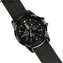 snowshine #10   Fashion Gemius Army Racing Force Military Sport Men Officer Fabric Band Watch   free shipping