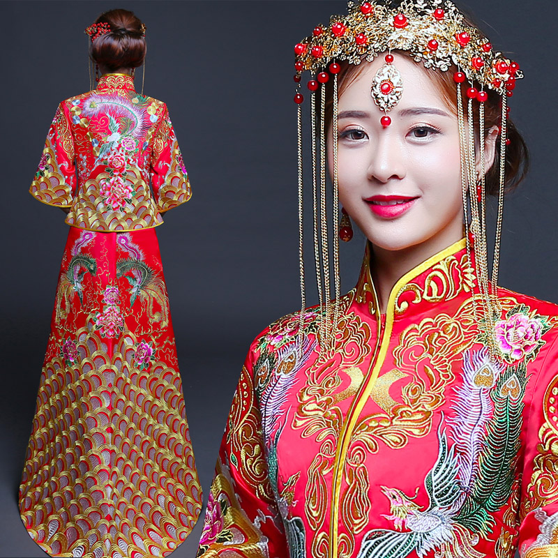 Phoenix&Flower Elegant Royal Bride Trailing Dress Vintage Female Cheongsam Suit Traditional Embroidery Chinese Marriage Qipao