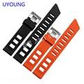 UYOUNG Качество силиконовый браслет черный | orange резиновый ремешок для часов 20 мм для мужчин водонепроницаемый силиконовый браслет