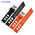 UYOUNG Quality  silicone bracelet black|orange rubber watchband 20mm for mens waterproof silicone bracelet watch