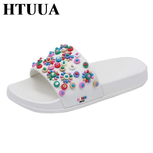HTUUA Shoes Woman Sandals House Beads Flip-Flops Home Slipper Flat Slides Colorful Beach