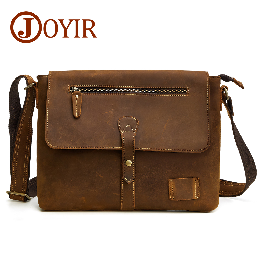 Joyir genuine cow leather Briefcase Business Shoulder Bag Leather Messenger Bags Computer Laptop zipper&hasp Men's office bags