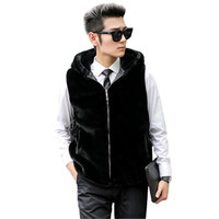 2017 Winter Mens Fashion Faux Fur Vest Coat Sleeveless Jacket Men Top Male Warm Waistcoat Balck