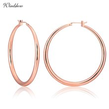 Rose Gold Color Large Big Circle Loop Creole Round Hoop Earrings For Women Girls Statement Jewelry boucle d'oreille Aros Aretes(China)