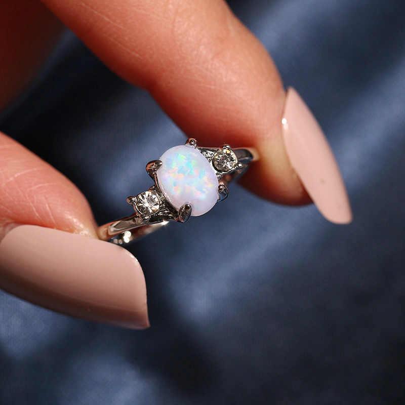 Dainty Vòng Dainty Fire Opal Tặng cho Nữ, Nhẫn Nữ Đơn Giản Nhẫn Cưới Màu Bạc Hình Bầu Dục Đá Nhẫn BIJOUX Femme