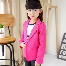 2015Selling new Korean children's clothing,spring and autumn fashion girls red,yellow jacket Coat a button Blazers Free Shipping