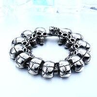 SKA Bijoux Bracelets For Men Brand Personality Bracelet Stoving Varnish Punk Titanium Steel Skulls Punk Male Jewellery BC8 003