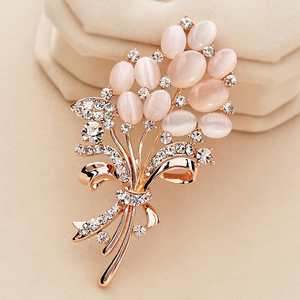 PICKYZ Fashionable Opal Stone Flower Brooch Pin Garment Accessories Birthday Gift brooches for women rhinestone brooch Pin