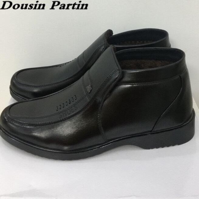 Dousin Partin Bont Laarzen Kwaliteit Lederen Hoge Top Heren schoenen flats slip op schoenen flats N6547841-in Eenvoudige Laarzen van Schoenen op  Groep 2