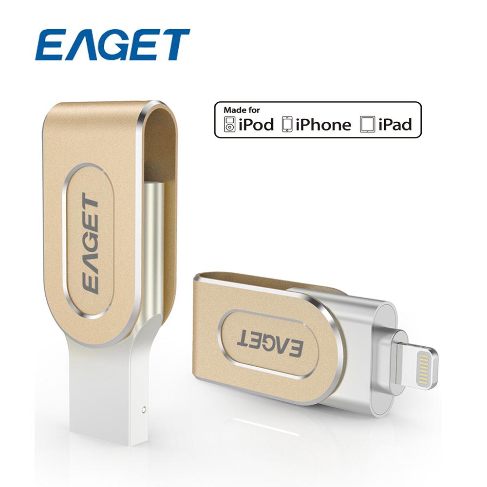 Prix pour Eaget i80 USB Bâton MFI Pen Drive Mémoire Flash Drive U Disque 64G métal Étanche pour La Foudre à USB3.0 ipad/iphone 6 6 S 5 5S