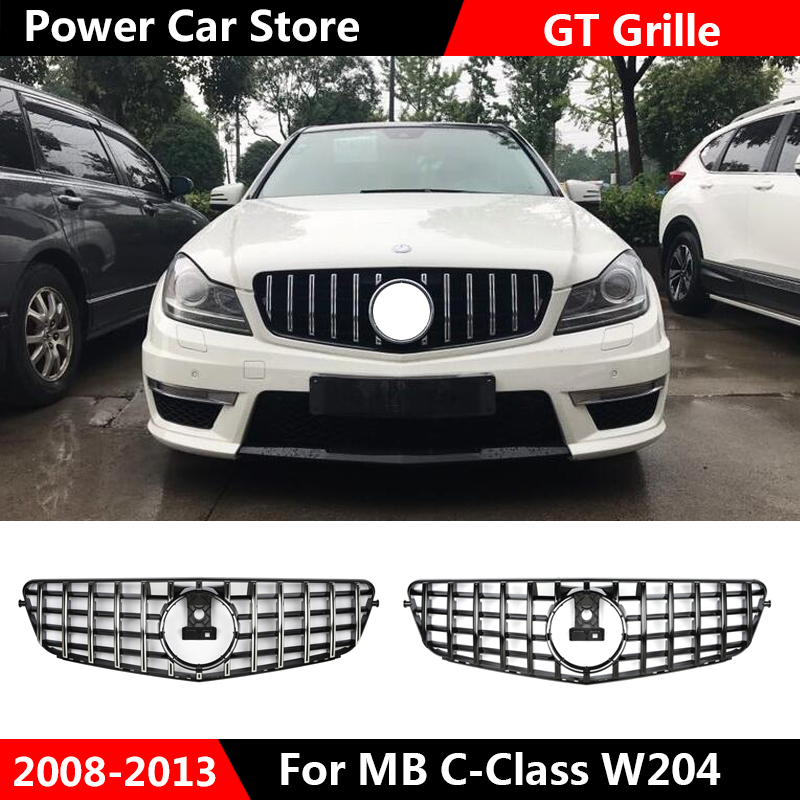 New style W204 GT GTR Grille for <font><b>Mercedes</b></font> W204 C Class front bumper racing grille C180 C200 C250 <font><b>C300</b></font> fashion look 2008 - 2014 image