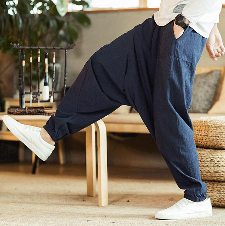 Men Pants Men 39 s Wide Crotch Harem Pants Loose Trousers Wide legged Bloomers Chinese Style Flaxen HipHop Ankle Length Baggy in Harem Pants from Men 39 s Clothing