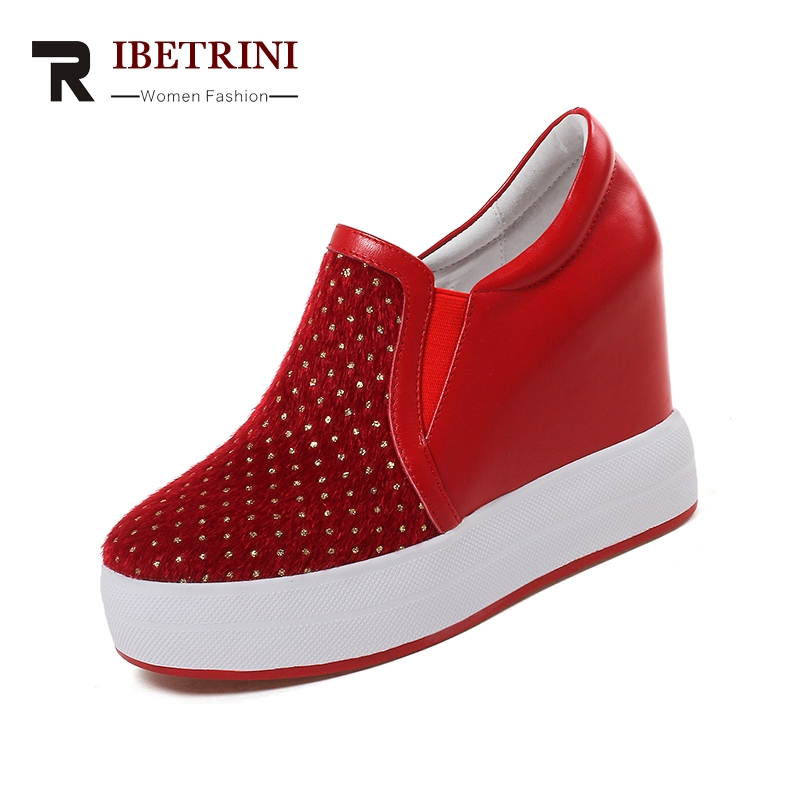 40 Taille Vache Chaussures 32 Hauts Pompes Super Cuir En Noir Pour Grande Femmes Femme Rouge Bande rouge Élastique Noir 2019 Ribetrini Talons X0xP4nB0
