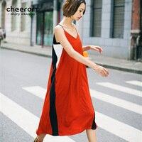 Cheerart Summer Women Spaghetti Strap Dress V Neck Long Orange Patchwork Black Beach Holiday Midi Dress