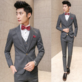 3 pieces / Set (Jacket+Vest+Pants) Prom Men Suit With Pants White Striped Wedding Suits for Men Korean Slim Fit Dress Costume