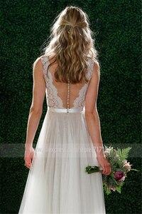 Image 3 - V צוואר תחרה & טול ארוך חוף חתונת שמלות רצפת אורך שרוולים גריי הכלה שמלת אשליה חזרה עם כפתורים