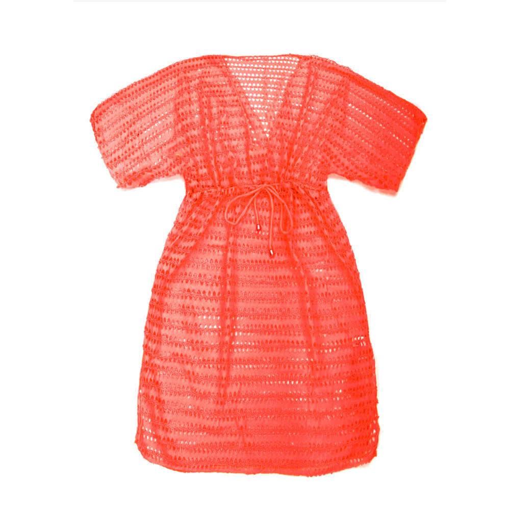 Colloyes женский закрытый купальник вязание крючком пляжная одежда сетка летний пляжный халат платье глубокий v-образный вырез яркий цвет оранжевый желтый и зеленый