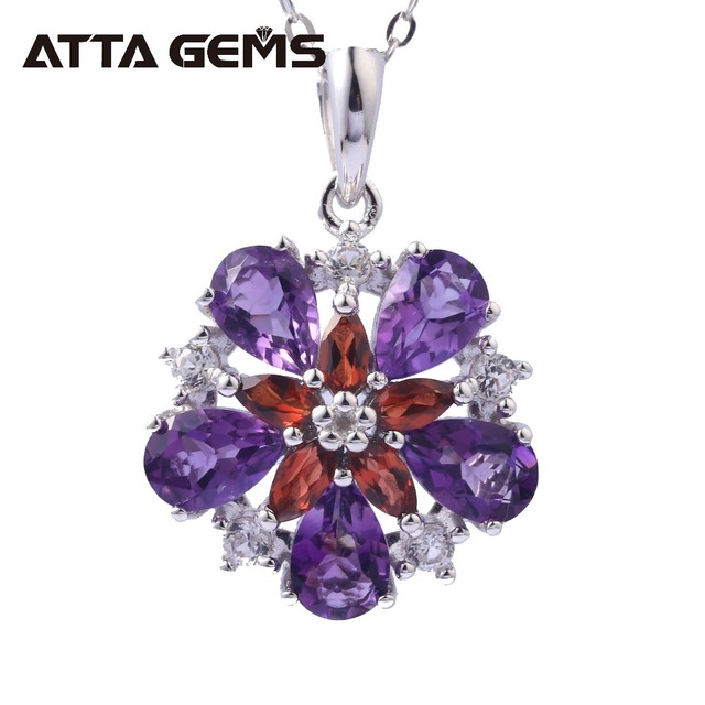 Natural Amethyst Sterling Silver Womens Pendants for Wedding Birthday Party Gifts 3 Carats Natural Crystal Jewelry Brand