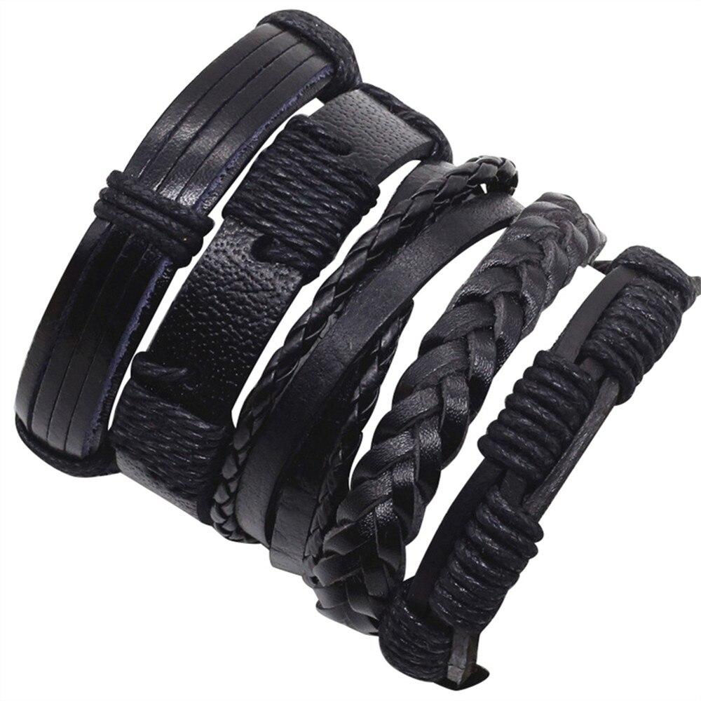 Black 5pcs/set Combination Wrap Fashion Alloy Vintage Bangle Genuine Leather Bracelets Men Women Jewelry Accessories