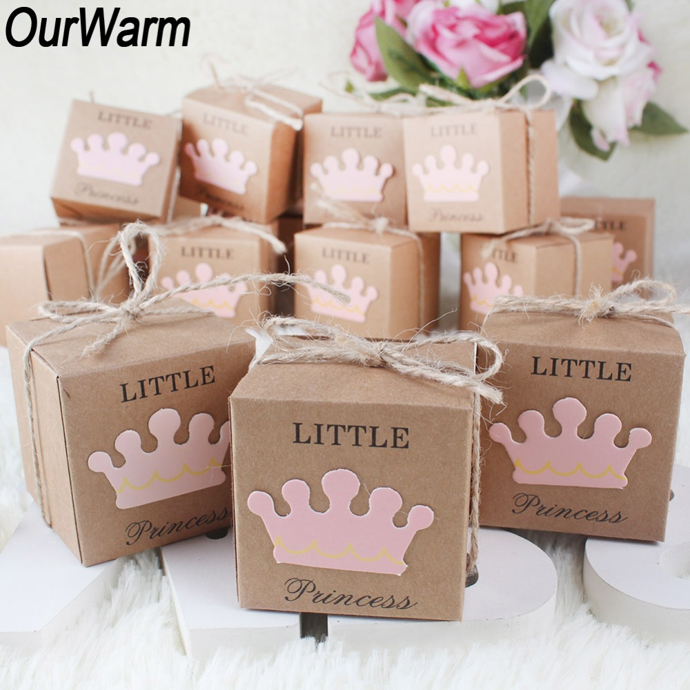 OurWarm 100/20Pcs Baby Shower Candy Box Little Prince/Princess Crown Paper Gift Box Birthday Party Decorations Kids Favor Boxes