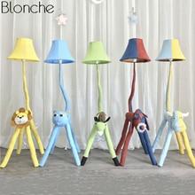 цены Modern Cartoon Animal Floor Lamp for Children's Kids Room Bedroom Fabric Lamp Shades Stand Led Standing Light Fixture Home Decor