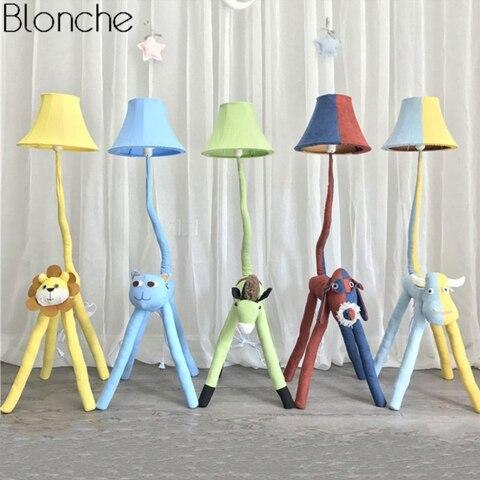 lampada de assoalho moderna dos desenhos animados animais para criancas quarto tecido lampada tons suporte