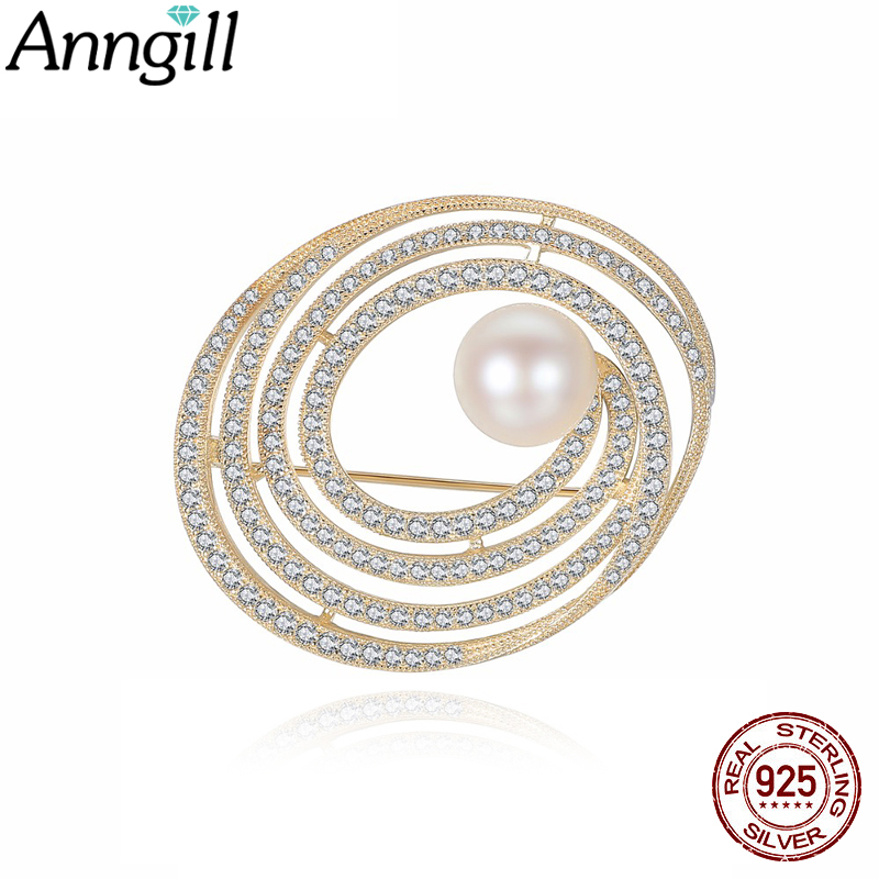 High Quality Silver 925 Pearl Brooches Bling Crystal Rhinestone Golden Oval Brooch Pins Jewelry Women Brooches For Scarf Gift elegant artificial gem oval rhinestone leaf floral brooch for women