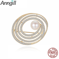 High Quality Silver 925 Pearl Brooches Bling Crystal Rhinestone Golden Oval Brooch Pins Jewelry Women Brooches For Scarf Gift