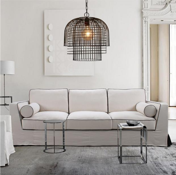 American retro iron cages pendant lights loft industrial wind lantern dining room bedroom living room creative pendant lamps ZA retro matte black iron ceiling light american industrial iron lights