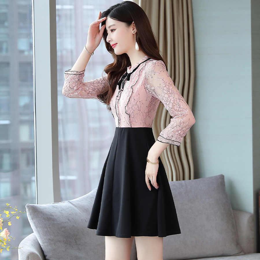 2019 винтажные розовые черные поддельные Мини платья из двух частей осенне-зимний пляжный костюм с длинным рукавом платье элегантные женские облегающие вечерние платья