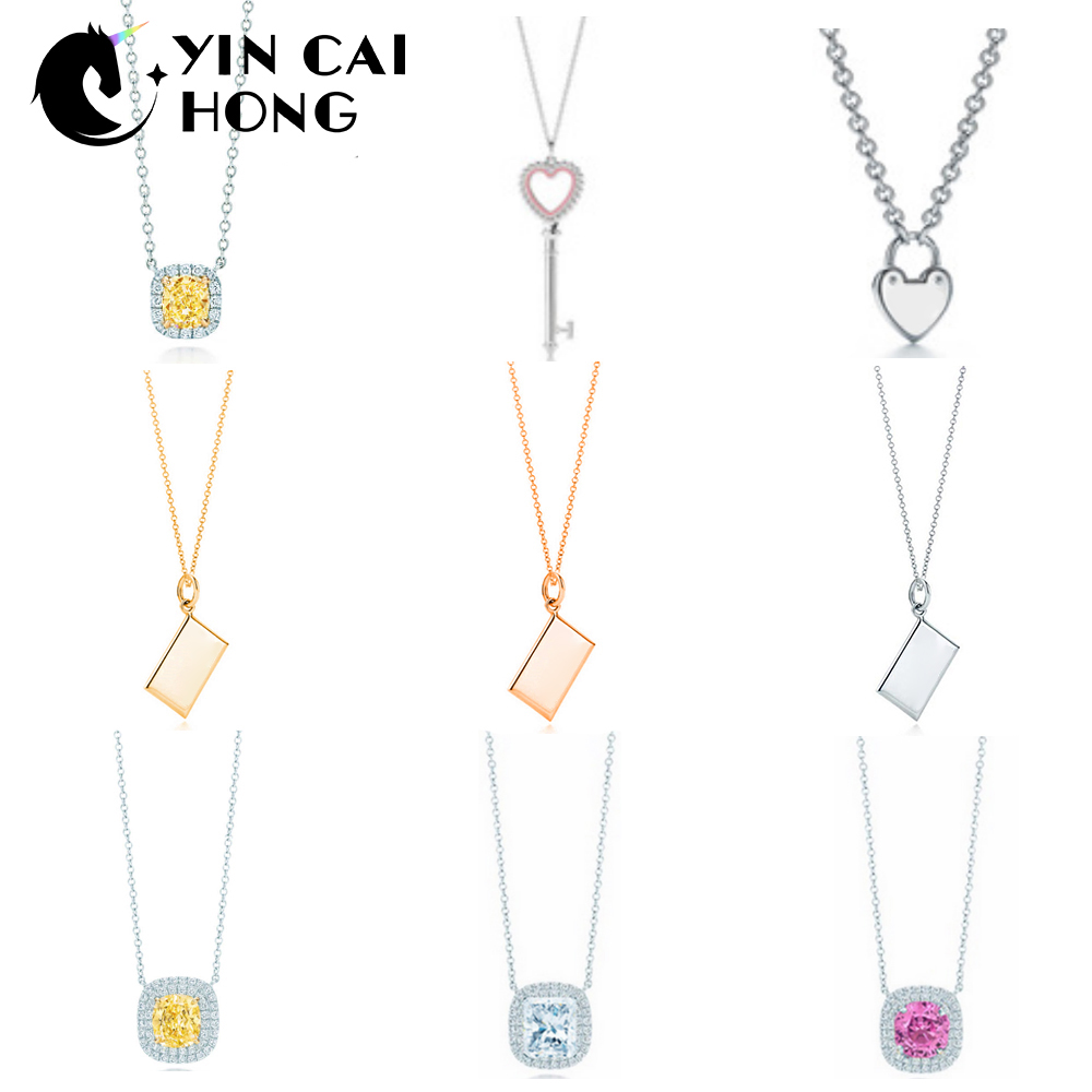 YCH Charm Gift 925 Sterling Silver Geometric Pink Yellow White Zircon Love Pendant Tiff Necklace Silver Jewelry Match World Jewe rolilason minimalist design 925 sterling silver pink heart shaped zircon pendant necklace party gift sp75