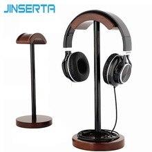 JINSERTA Draagbare Hoofdtelefoon Stand Houten Praktische Oortelefoon Houder Headset Tonen Plank Aluminium Beugel Ondersteuning Apparaat