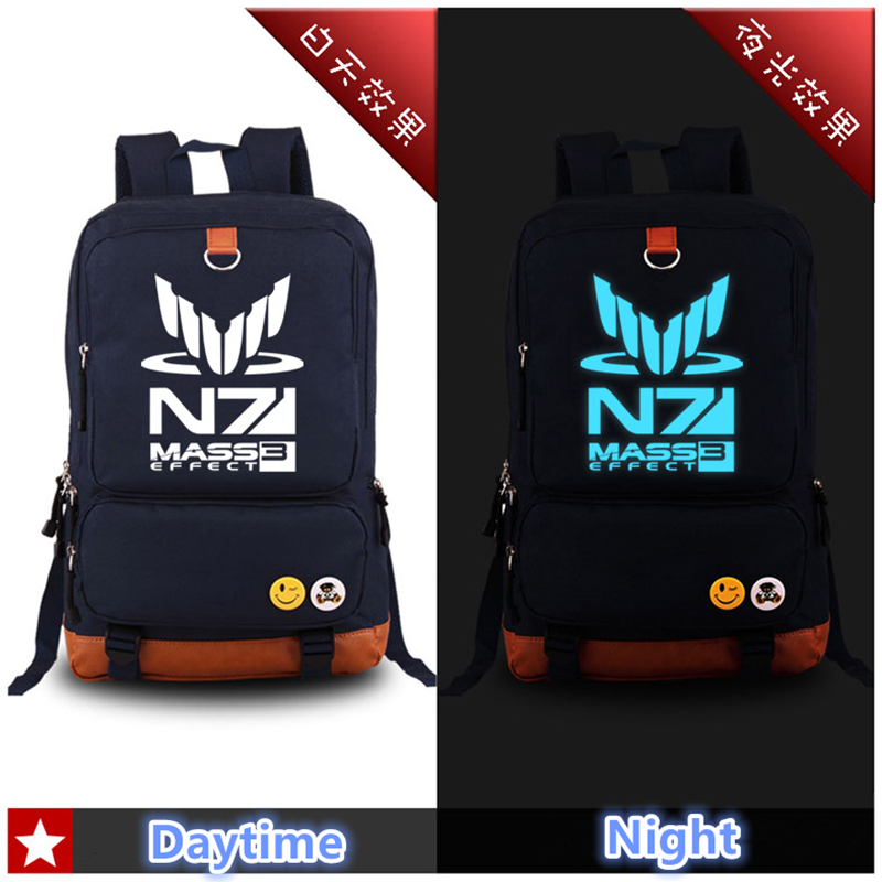Hot RPG Game MASS EFFECT N7 Luminous Printing Canvas Fashion Military Backpack Mochila Feminina School Bags for Teenagers fairy tail shoulders school bags anime canvas luminous printing backpack schoolbags for teenagers mochila feminina