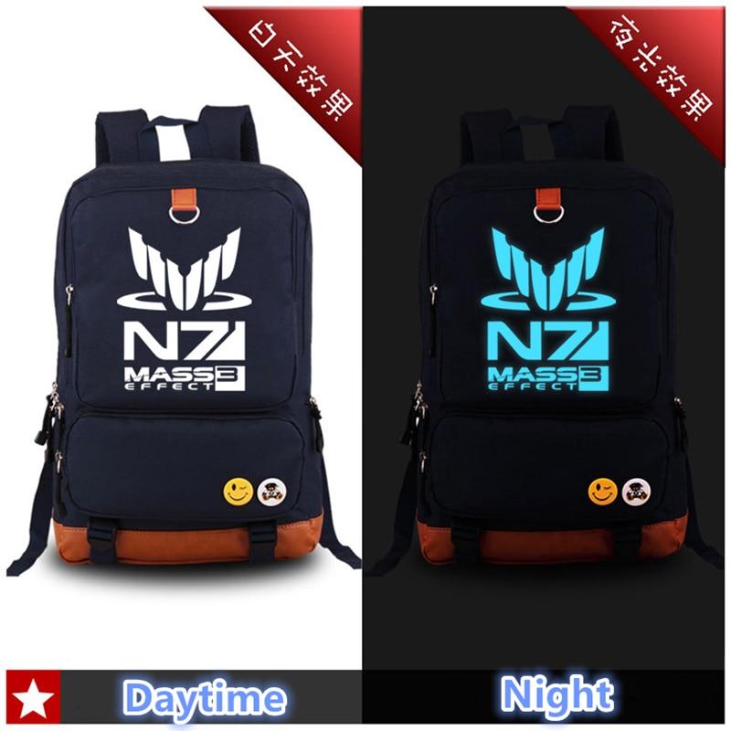 все цены на  Hot RPG Game MASS EFFECT N7 Luminous Printing Canvas Fashion Military Backpack Mochila Feminina School Bags for Teenagers  онлайн