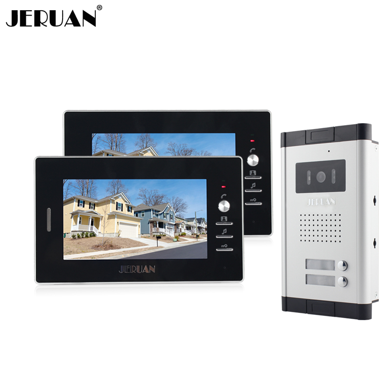 JERUAN New 7 inch Color Video Door Phone intercom System video intercom Apartment Intercom System For 2 House Free shipping цена