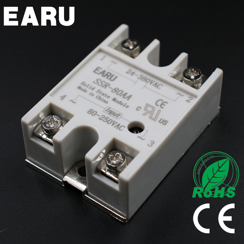 Solid State Relay Module SSR-80AA SSR-80 AA SSR 80A 80-250VAC Input to 24-380VAC Output Industry Control normally open single phase solid state relay ssr mgr 1 d48120 120a control dc ac 24 480v