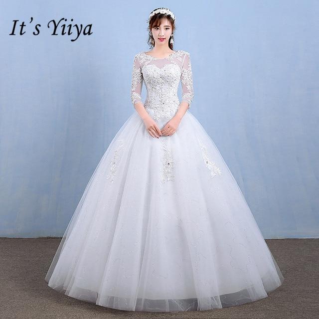 Aliexpress.com : Buy It\'s YiiYa Lace Floor length Wedding Dresses ...