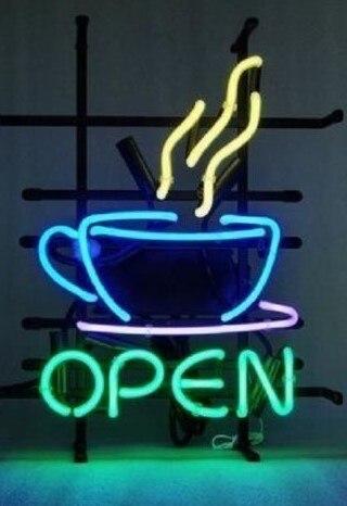 Barre de bière de signe de néon en verre ouvert de café fait sur commande